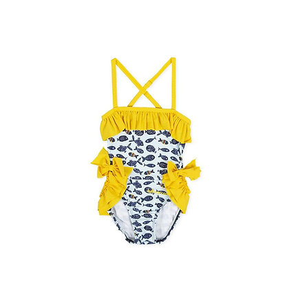 Girls Swimsuit Fish Yellow Bows Frills