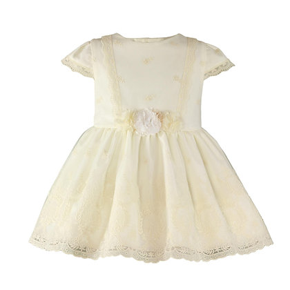 Miranda Baby Girls Dress Ivory with lace and flowers