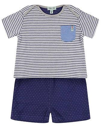 Baby Boys Stripe Blue Organic Reversible T-Shirt Shorts Set