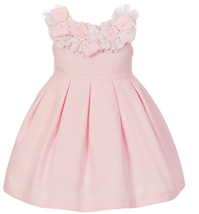 Balloon Chic Girls Pink dress with diamante on neckline  (Front view)