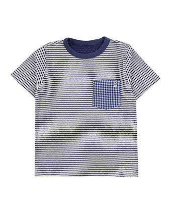 Boys Reversible Blue Striped Spotted Organic T-Shirt