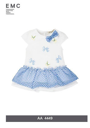 EMC WHITE AND CHECKED DRESS WITH BOWS