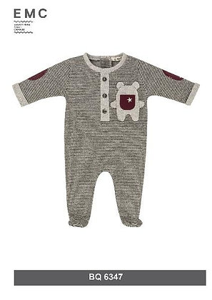 EMC Baby Boy Grey and Red Wine Baby grow