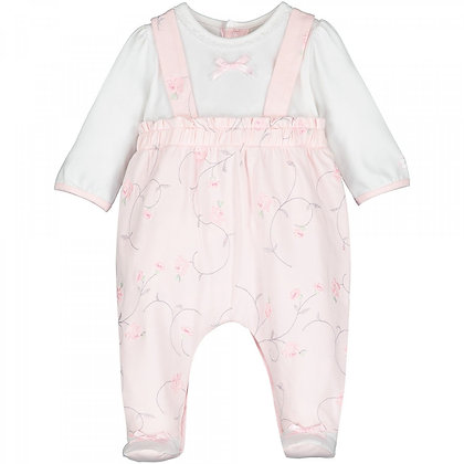 EMILE ET ROSE Pink Baby grow in a mock dungaree style