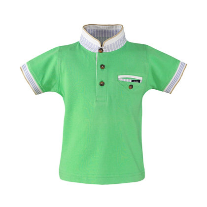 Collarless Polo shirt Mint Green Boys