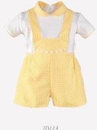 Yellow Baby Boys Dungaree Set White