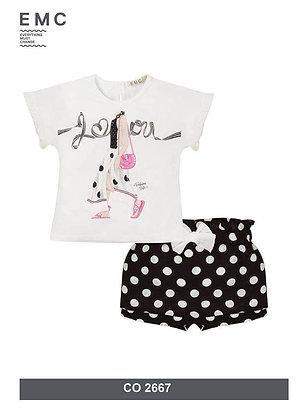 Casual Girls Set Top Shorts Black White Polka Dots