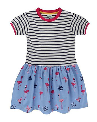 Lilly and Sid Organic Dress Flamingo and Stripped