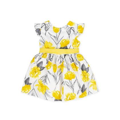 Girls Yellow Flowers Dress Bow Grey