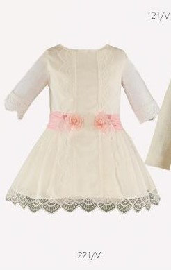 Miranda Girls Occasion Dress Ivory with Pink Flowers