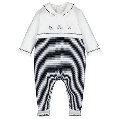 Baby Boys Navy Striped Babygrow