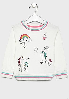 Minoti Girls Unicorns Sweatshirt Cream