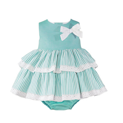 Miranda Baby Girl Dress Mint with Striped Skirt