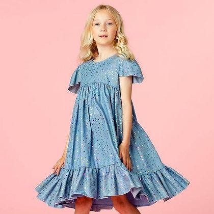 Holly Hastie Poppy Indigo Cotton Star Girls Party Dress