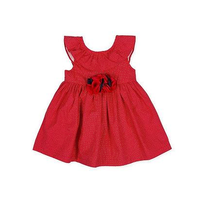 Dress Girls Flowers Red Bow Frills