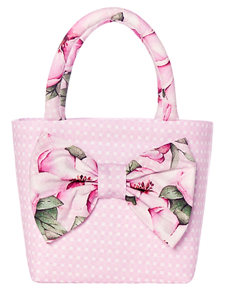 Balloon Chic Pink White Spotted Bag with Flower Print Bow