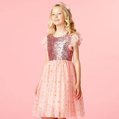 Hollie Hastie Girls Party Dress Shimmer Pink Sequin & Star Tulle