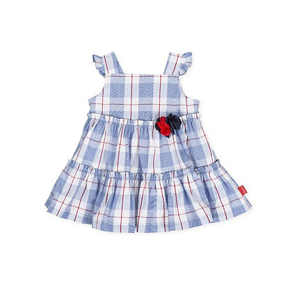 Baby Girls Checked Blue Red Flowers Dress