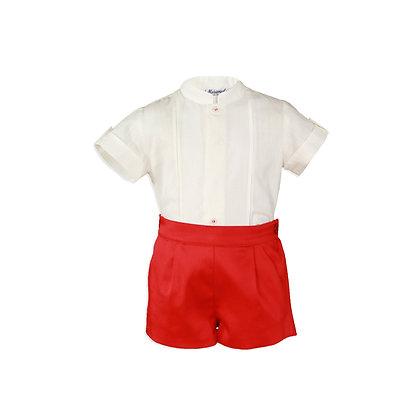 Baby boys formal red white shirt shorts satin