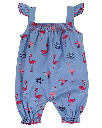 Lilly and Sid Romper Dungaree Girl Flamingo Organic Cotton