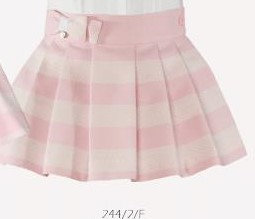 Miranda Girls White and Pink Pleated Skirt