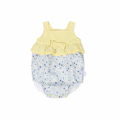 Baby Girls Romper Yellow Blue Bow