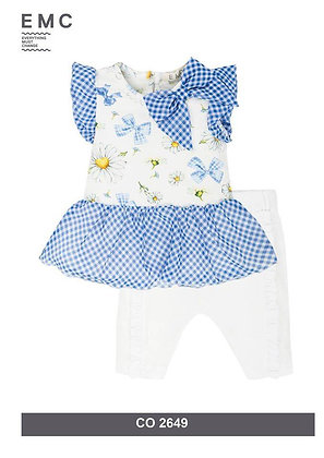 EMC GIRLS SET WITH FLORAL TOP AND WHITE LEGGINGS