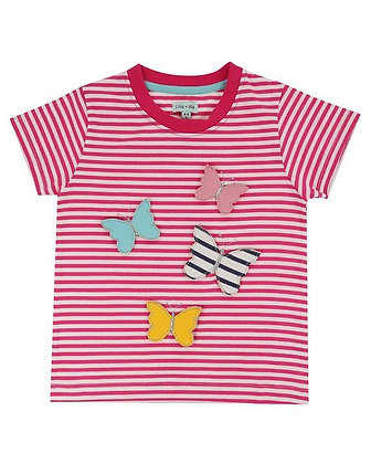 Lilly and Sid 3D Pink Striped Butterfly Organic T-Shirt