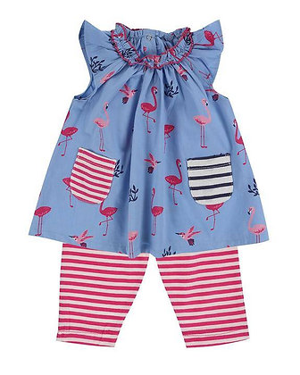 Lily and Sid Organic Cotton Dress Leggings Set Flamingoes