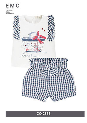 EMC SET WHITE TOP AND CHECKED SHORTS WITH BOW