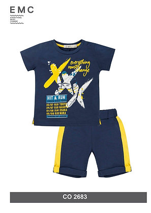 Boys Blue Yellow Summer Set Shorts T-Shirt
