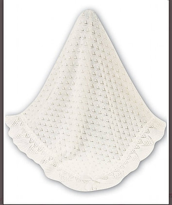 IVORY White shawl blanket knit christening baptism occasion