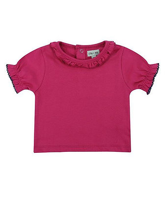 Lilly and Sid Organic Cotton Pink Frill Basic Top