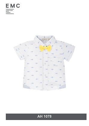 Baby Boys Shirt Set Bowtie Fish Print Yellow Blue