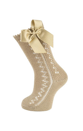 Carlomagno Girls' Sand High Socks with Bow