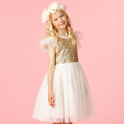 Girls Party Dress Shimmer Gold & Ivory Sequin & Star Tulle