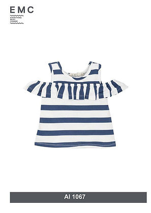 EMC White and Blue Striped Off Shoulder Top