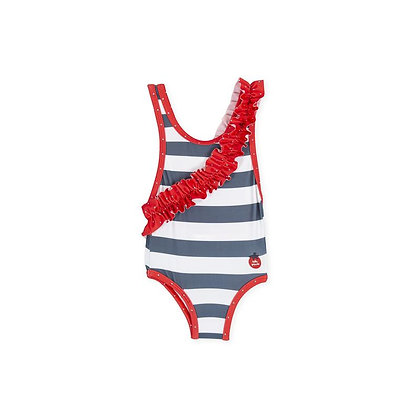 Red Ruffle Frill Striped Swimsuit Girls