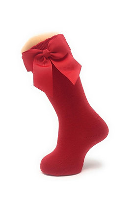 Carlomagno Girls' Red High Socks with Gros Grain Bow
