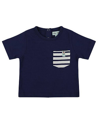 Baby boys navy blue organic cotton stripe pocket t-shirt