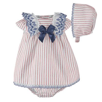 Miranda Baby Girls Dress striped with hat