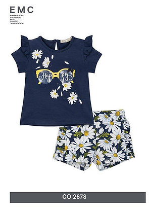 Casual Girls Set Blue Daisies Yellow Top Shorts