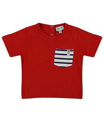 Baby Boys Red T-Shirt Stripe Pocket Organic