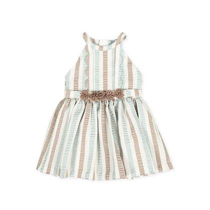Striped Dress Scalloping Mint  Beige Occasion Girls Dress