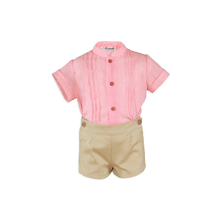 Baby Boys Formal Coral and Beige Set Shirt Shorts