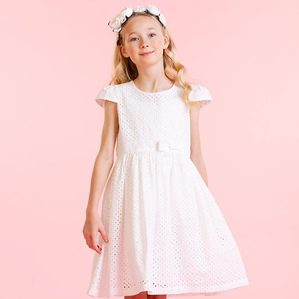 Holly Hastie Sienna White Cotton Embroidered Girls Party Dress