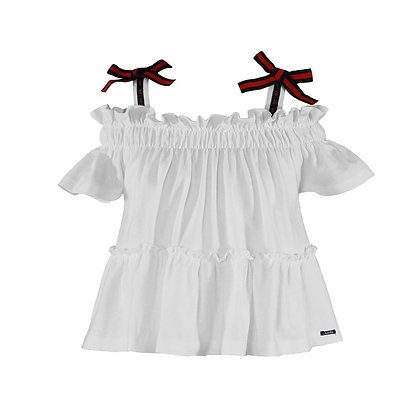 Miranda Casual off shoulder top white bows
