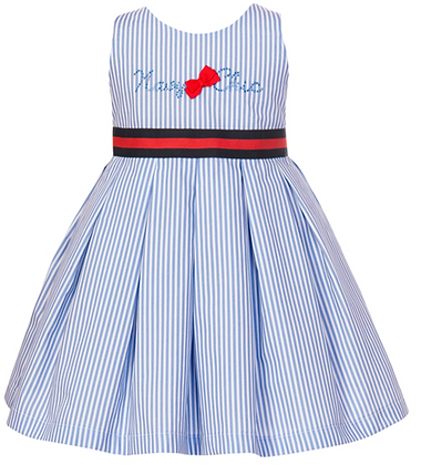 Balloon Chic Girls Striped Blue Dress with Navy Blue and Red Sash