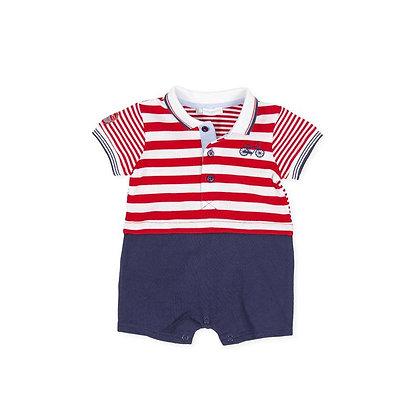 Boys Romper Striped Red Navy Blue