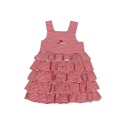 Tutto Piccolo Girls Frill Striped Spotted Dress Bow